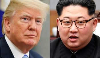 FILE- In this combination of file photos, U.S. President Donald Trump, left, in the Oval Office of the White House in Washington on May 16, 2018, and North Korean leader Kim Jong Un in a meeting with South Korean leader Moon Jae-in in Panmunjom, South Korea, on April 27, 2018. Ahead of a planned summit Tuesday, June 12,  in Singapore between President Donald Trump and North Korean autocrat Kim Jong Un, there has been talk of complete denuclearization, North Korea has shut down (for now) its nuclear test site, and senior U.S. and North Korean officials have shuttled between Pyongyang and Washington for meetings with Kim and Trump. The top U.S. diplomat declared that ג€œChairman Kim shares the objectives with the American peopleג€ amid talk of a grand bargain that could see North Korean disarmament met with a massive influx of outside aid. (AP Photo/Evan Vucci, Korea Summit Press Pool via AP, File)