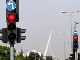 Two traffic lights in Jerusalem on May 14, 2008