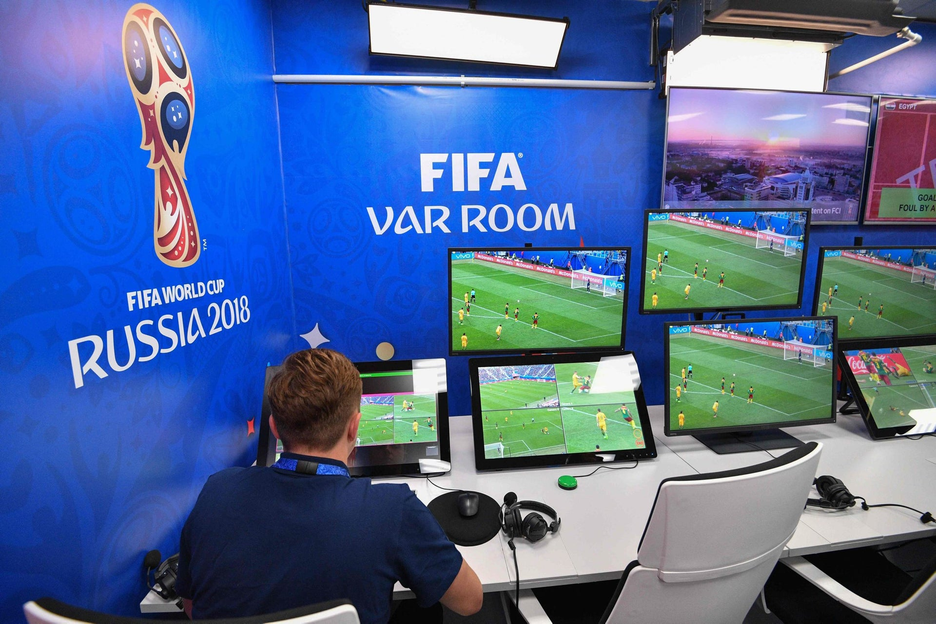 The Video Assistant Referee (VAR) operations room for the 2018 FIFA World Cup in Moscow, June 9, 2018.