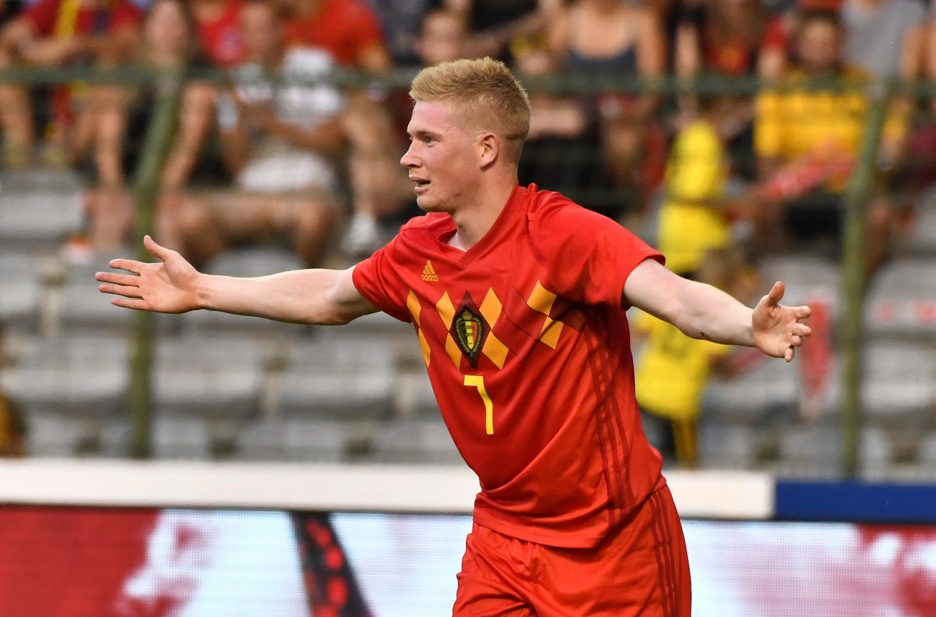 Belgium's Kevin De Bruyne reacts after a call during a friendly soccer match between Belgium and Egypt at the King Baudouin stadium in Brussels, Wednesday, June 6, 2018.