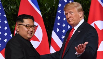 A historic moment: Kim and Trump shake hands, Sentosa, Singapore, 12 June 2018