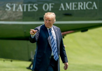 Donald Trump arriving at the White House on May 25.