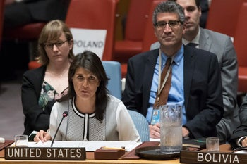 U.S. Ambassador to the UN Nikki Haley speaking during a Security Council meeting on May 17, 2018.