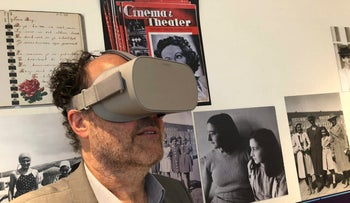 Ronald Leopold, executive director of the Anne Frank House, views a new virtual reality presentation of the secret rooms where teenage Jewish diarist Anne Frank hid from the Nazis during World War II, in Amsterdam on Tuesday, June 12, 2018.
