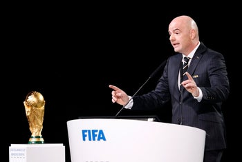 FIFA President Gianni Infantino delivering a speech at the FIFA congress in Moscow, June 13, 2018.