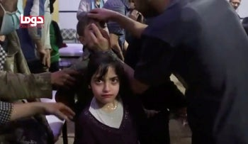 Child after an alleged chemical attack in Douma, close to Damascus, April 2018