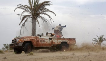 A Pro-government Yemeni soldier fires a B-10 recoilless rifle on June 7, 2018, near the city of Al Jah in the Hodeida province