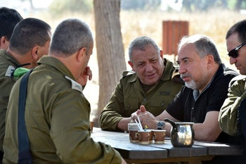 Defense Minister Avigdor Lieberman and IDF chief Gadi Eisenkot visit the army's Gaza Division.