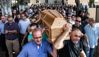 The funeral of Padilla Cadis, the murdered widow of the head of Jaffa's Christian community, June 8, 2018.