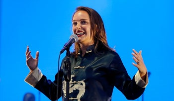 Natalie Portman introduces the band The National at the Boston Calling Music Festival, May 25, 2018, in Allston, Mass.
