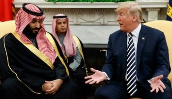 U.S. President Donald Trump meets with Saudi Crown Prince Mohammed bin Salman in the Oval Office of the White House, March 20, 2018.