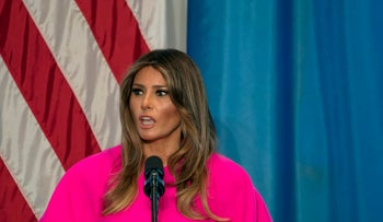 Melania Trump addresses a luncheon at the U.S. Mission to the United Nations in New York, September 2017
