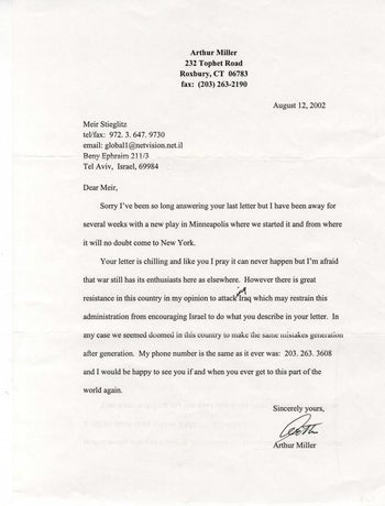 One of the final letters from Miller to Stieglitz, August 2002.
