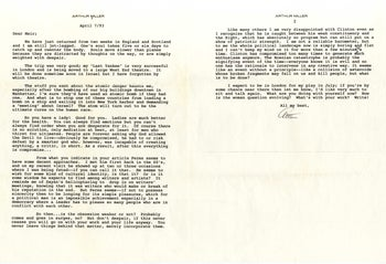 A letter from Arthur Miller to Meir Stieglitz in April 1993.