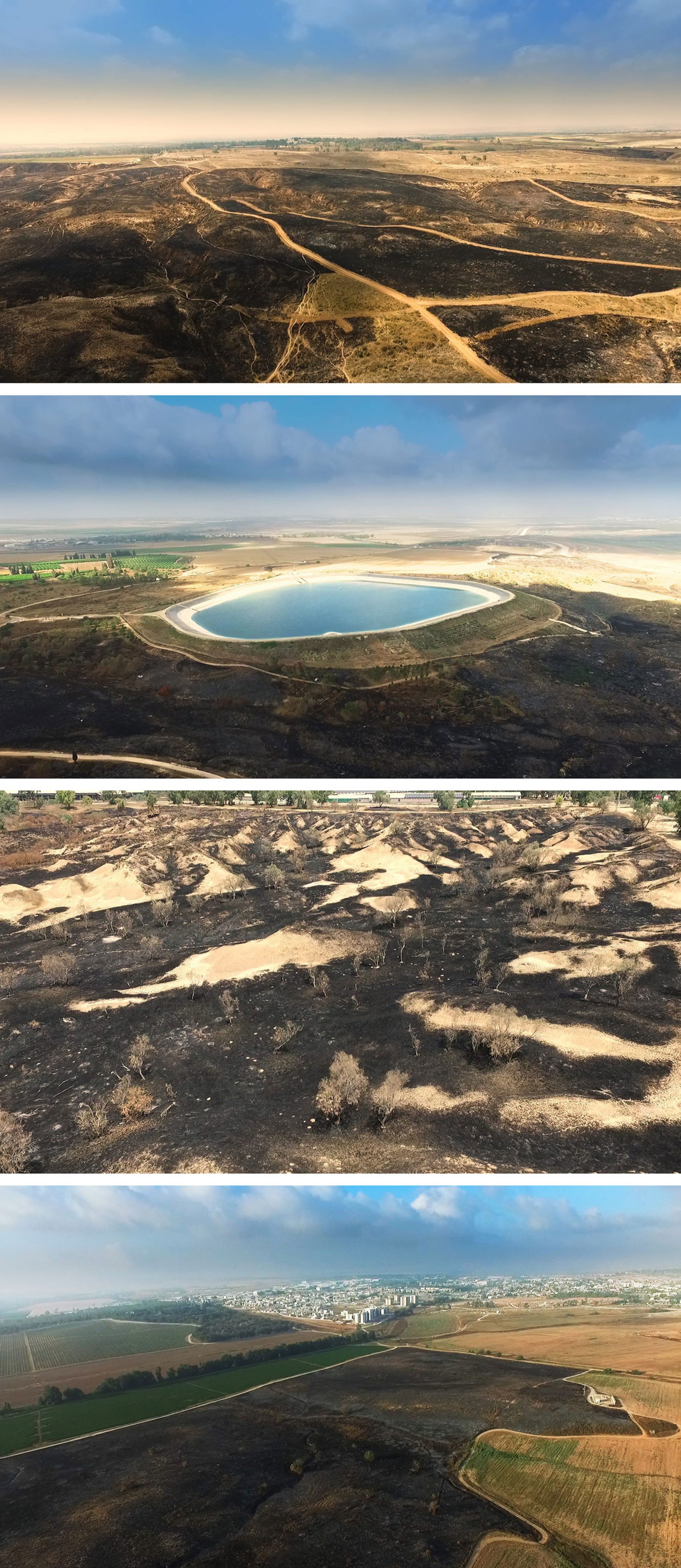 Clockwise from top left: The Be'eri Crater, blackened by fire, the reservoir adjacent to Kibbutz Nir Am, surrounded by scorched fields, North of Sderot and Kissufim forest.