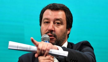 Italy's Interior Minister and deputy PM Matteo Salvini in a meeting with the Italian Association of commercial businesses on June 13, 2018 in Rome