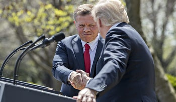 King Abdullah II of Jordan, left, shakes hands with U.S. President Donald Trump during a news conference in the Rose Garden of the White House in Washington, D.C., U.S., on Wednesday, April 5, 2017