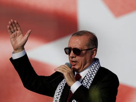 Turkish President Tayyip Erdogan delivers a speech during a protest against the killings of Palestinian protesters and the U.S. embassy move to Jerusalem, Istanbul, Turkey, May 18, 2018.