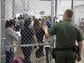 A view of inside a U.S. Customs and Border Protection (CBP) detention facility showing children in Rio Grande City, Texas, June 17, 2018.