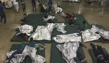Intake of illegal border crossers by U.S. Border Patrol agents at the Central Processing Center in McAllen, Texas, June 17, 2018.