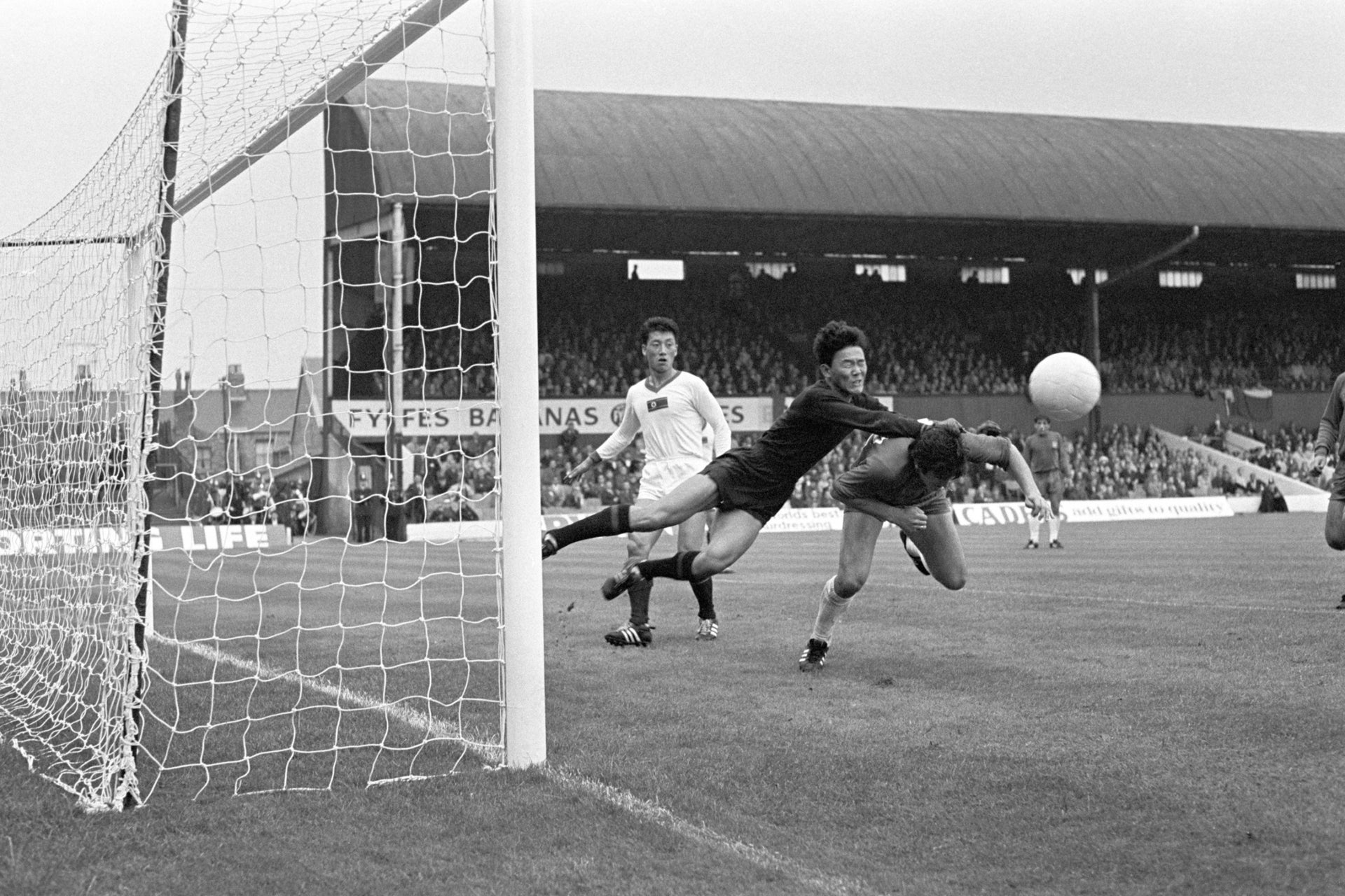 "The diminutive Lee Chang-Myung, aka the ""Flying Panther,"" thwarting a kick on the Korean goal during the July 15, 1966 game against Chile, at Ayresome Park, Middlesbrough."