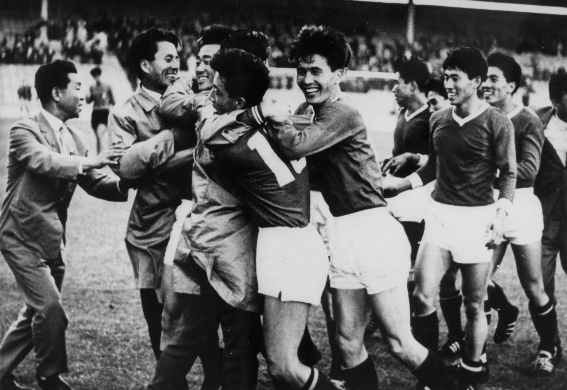 The North Korean team celebrates defeating Italy at Ayresome Park, Middlesbrough, during the 1966 World Cup.