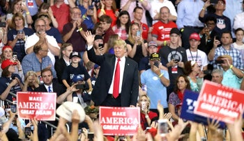 U.S. President Donald Trump announcing his executive order his policy separating immigrant children from parents who cross the U.S. border illegally during a rally in Duluth, Minnesota, June 20, 2018.