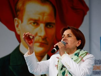 Iyi (Good) Party leader Meral Aksener addresses her supporters during an election rally in Izmit, Turkey, June 19, 2018