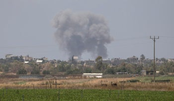 FILE PHOTO: Smoke rises following an Israeli airstrike in the southern Gaza Strip, May 29, 2018.