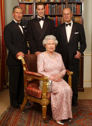 Prince William, center, with his father Charles and grandparents Queen Elizabeth II and Philip, Duke of Edinburgh, in 2003.