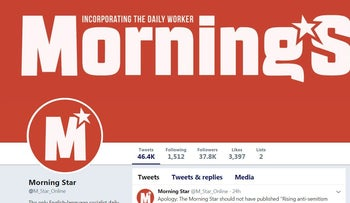 Image of the Morning Star newspaper's Twitter account