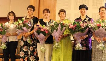 From left: AACI absorption counselors Josie Arbel, Sheila Bauman, Miriam Green, Helen Har-Tal, Carole Kremer and Yanina Musnikow, all honored at AACI's gala brunch in Jerusalem, June 15, 2018.