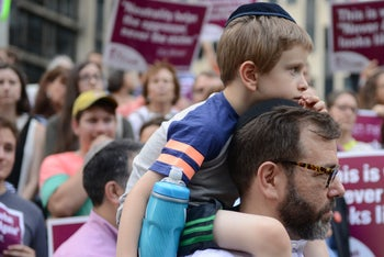 Jewish protesters gather to demonstrate the Trump administration's policies against undocumented immigrants, New York, June 22, 2018