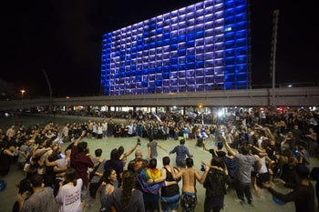 Tel Aviv's Rabin Square after Israel won the Eurovision Song Contest, May 2018.