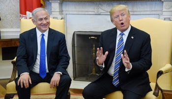 Prime Minister Benjamin Netanyahu and U.S. President Donald Trump at the White House, March 5, 2018.