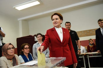 Meral Aksener, Iyi (Good) Party leader and presidential candidate, casts her ballot at a polling station in snap twin Turkish presidential and parliamentary elections in Istanbul on June 24, 2018