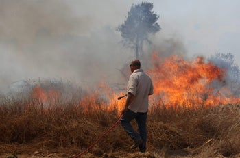 A fire caused by Palestinian arson near the border in the Eshkol region on Friday.