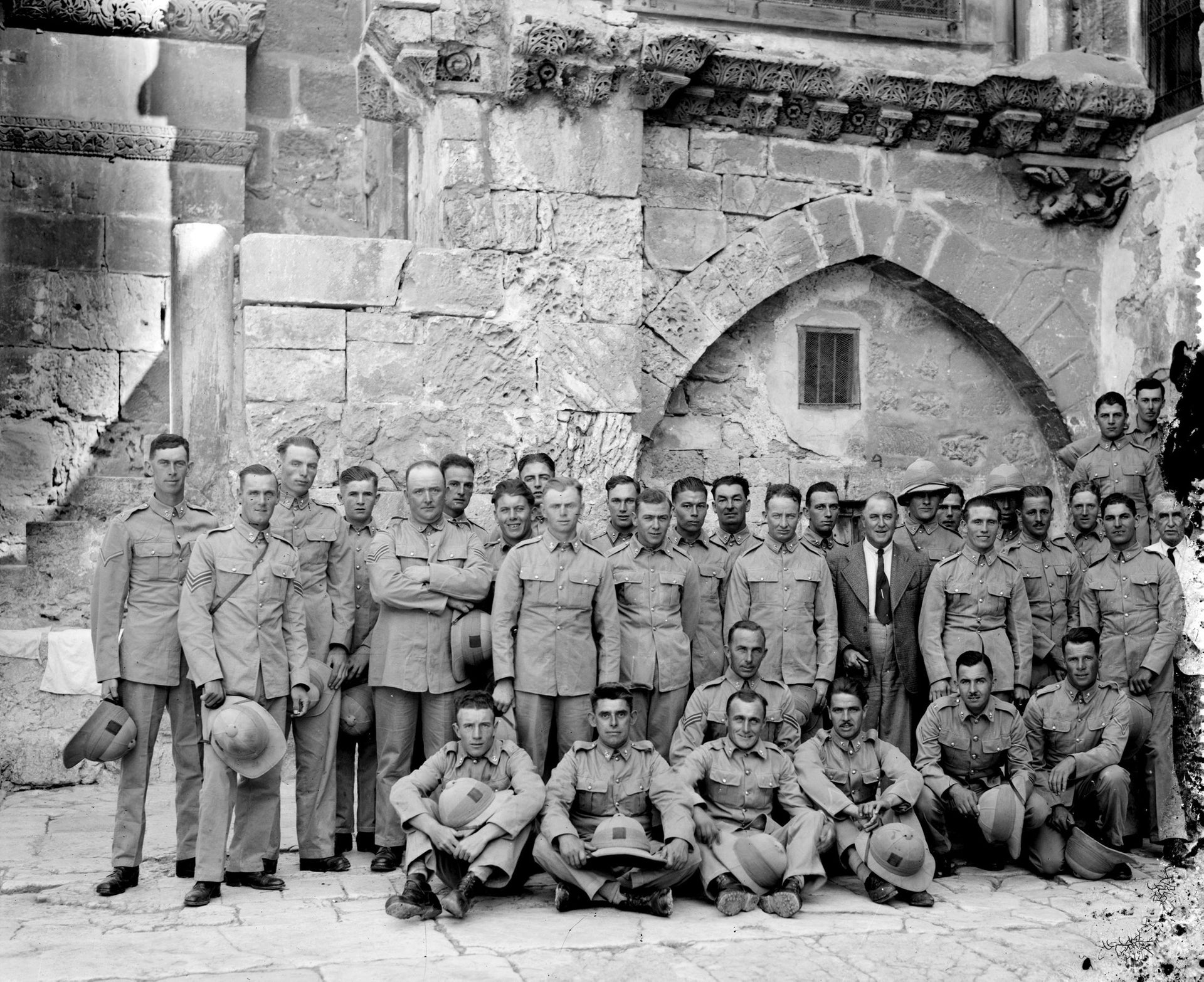 A British military group in the courtyard of the Holy Sepulchre Church in Jerusalem, Mandatory Palestine, 1920.