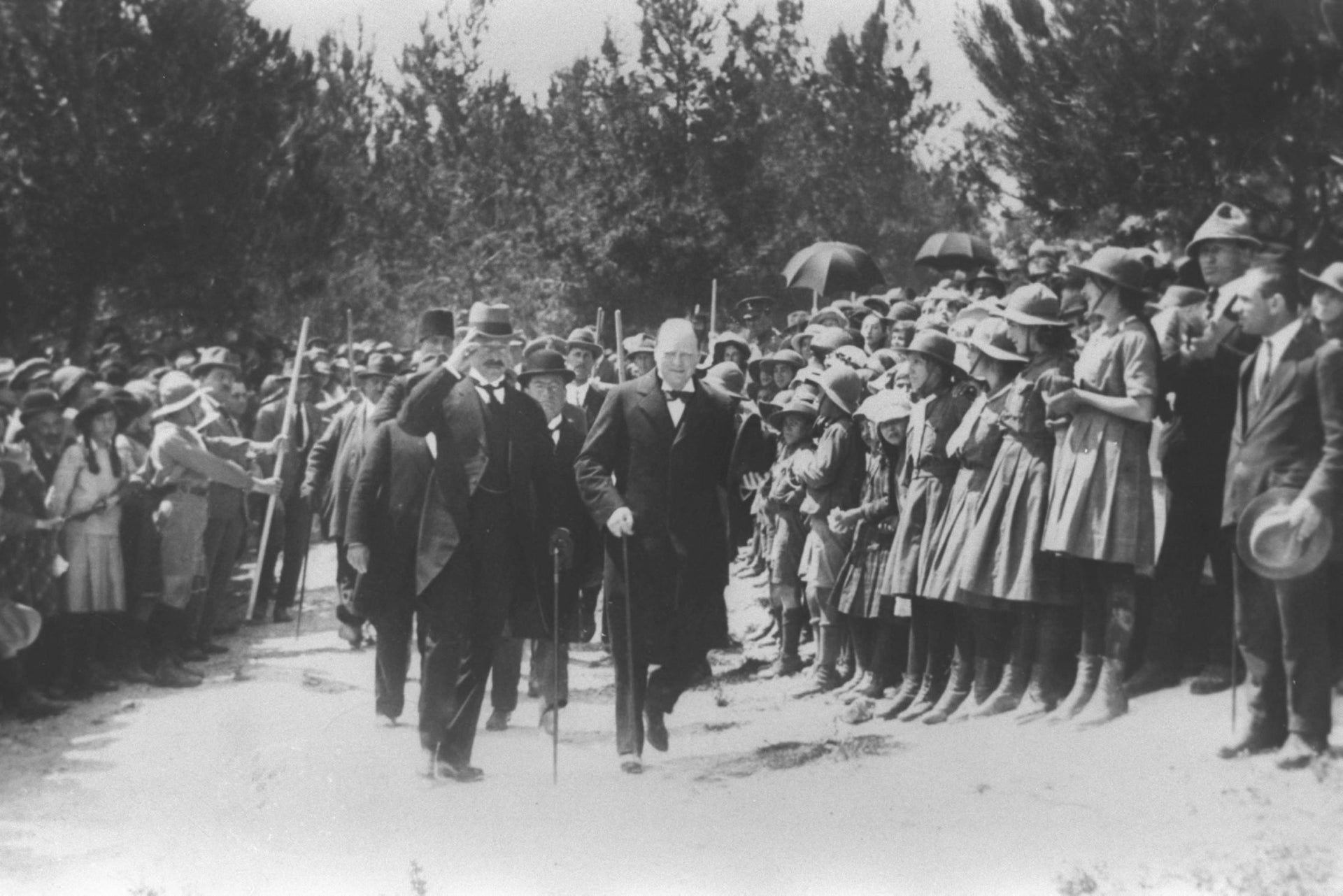 Britain's then-Home Secretary Winston Churchill, right, escorted by High Commissioner Herbert Samuel in Jerusalem during the British Mandate era, March 1921.