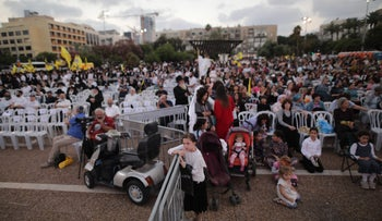 A barrier separates women from men at a Chabad event on Rabin Square, Tel Aviv, June 25, 2018.