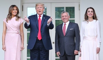 U.S. President Donald Trump and first lady Melania Trump pose with Jordan's King Abdullah and Queen Rania as they welcome them to the White House in Washington, U.S., June 25, 2018.