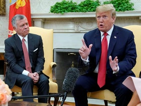 U.S. President Donald Trump, right, with Jordan's King Abdullah in the Oval Office, June 25, 2018.