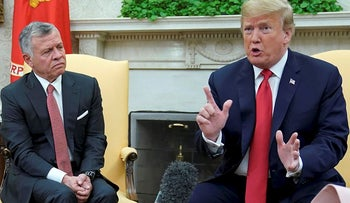 U.S. President Donald Trump speaks to reporters while meeting with Jordan?s King Abdullah in the Oval Office at the White House in Washington, U.S., June 25, 2018