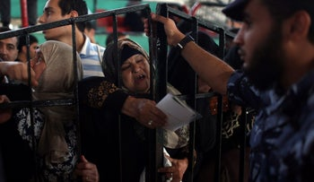 A woman at the Rafah border crossing in the southern Gaza Strip, May 13, 2018