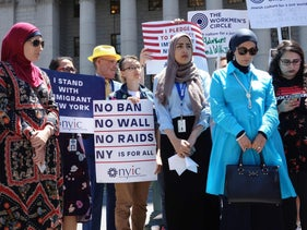 Members of the New York Immigration Coalition, including Linda Sarsour, left, in Foley Square, Manhattan, June 26, 2018.