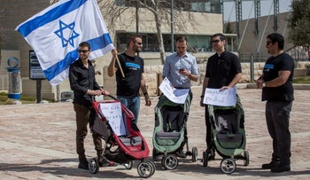 Protesting for gay surrogacy rights in Israel, Sept. 3, 2016