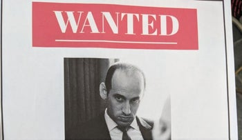 Screen shot of 'wanted' sign hung outside Stephen Miller's apartment