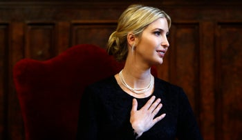 Ivanka Trump delivers a speech in Rome, Wednesday, May 24, 2017.