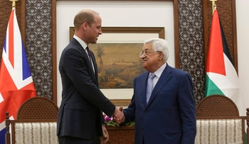 Prince William and Abbas meet in the West Bank City of Ramallah, June 27, 2018.
