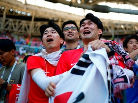 South Korea supporters reacting at the end of the Russia 2018 World Cup match between South Korea and Germany, June 27, 2018.